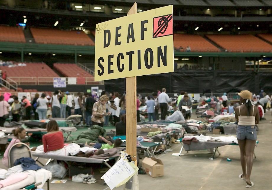 Deaf section for Hurricane Katrina evacuees at the Houston Astrodome. (Source: FEMA photo/Andrea Booher, 9 September 2005, Houston, TX)
