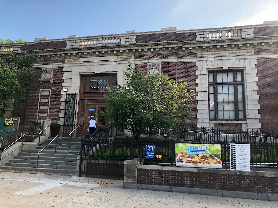 Woman enters New York City Cooling Center during a heat activation on Wednesday, August 8, 2018 at the Brooklyn Public Library – Bushwick Branch in Brooklyn, NY.