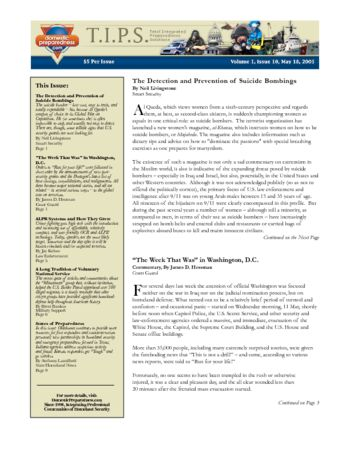 T.I.P.S. (Total Integrated Preparedness Solutions) Volume I, Issue 10 | DomPrep Journal