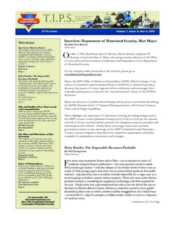 T.I.P.S. (Total Integrated Preparedness Solutions) Volume I, Issue 9 | DomPrep Journal